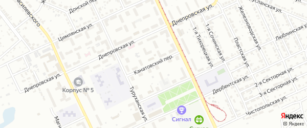 Канатовский переулок на карте Челябинска с номерами домов