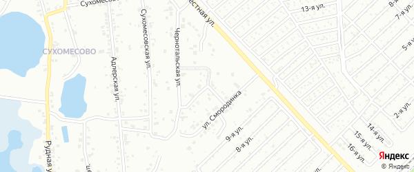Рельефная улица на карте Челябинска с номерами домов