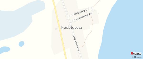 Центральная улица на карте деревни Канзафарова с номерами домов