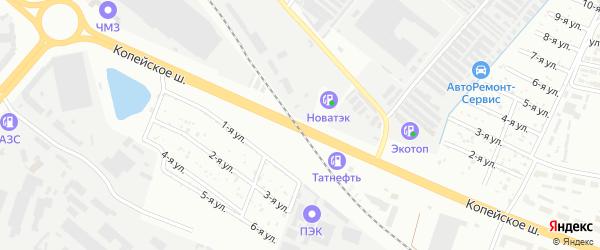 Копейское шоссе на карте Челябинска с номерами домов