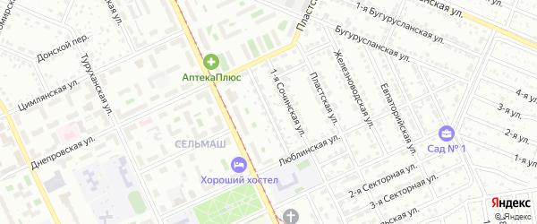 Тихорецкая 1-я улица на карте Челябинска с номерами домов
