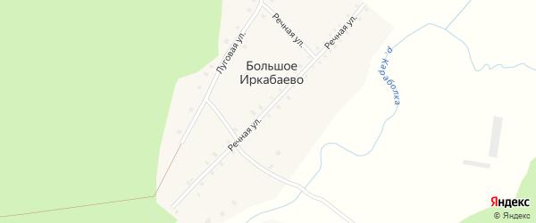 Речная улица на карте деревни Большого Иркабаево с номерами домов