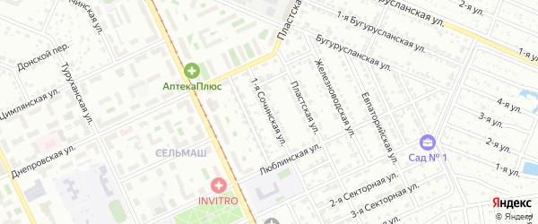 Сочинская 1-я улица на карте Челябинска с номерами домов