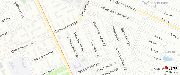 Пластская улица на карте Челябинска с номерами домов
