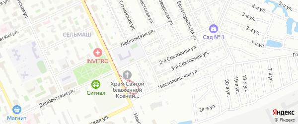 Сочинская 2-я улица на карте Челябинска с номерами домов