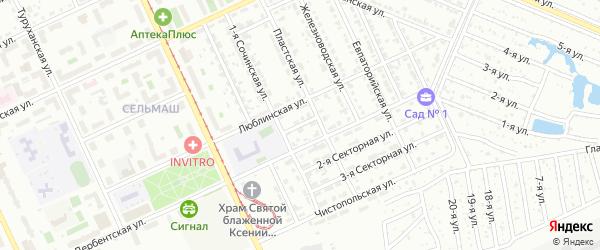 Секторная 1-я улица на карте Челябинска с номерами домов
