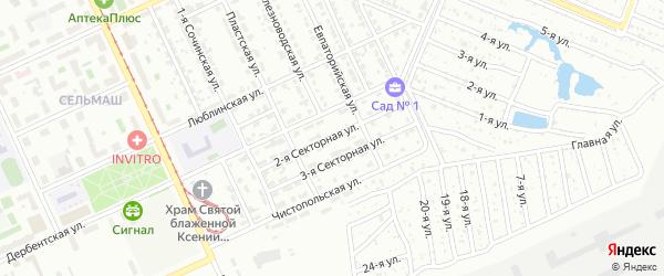 Секторная 2-я улица на карте Челябинска с номерами домов