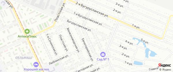 Клеверная улица на карте Челябинска с номерами домов