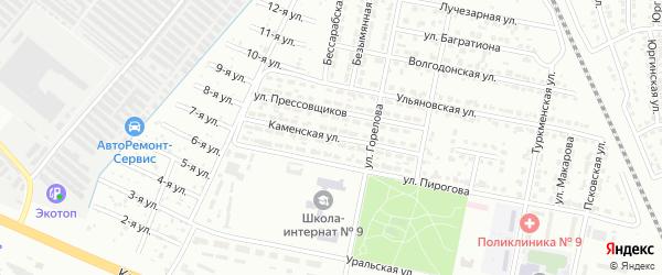 Каменская улица на карте Челябинска с номерами домов