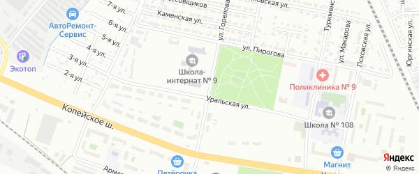 Улица Горелова на карте Челябинска с номерами домов