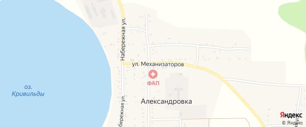 Улица Механизаторов на карте села Александровки с номерами домов