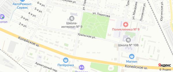 Сад СНТ Уралец Уральская ул на карте Челябинска с номерами домов