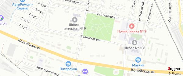 Уральская улица на карте Челябинска с номерами домов