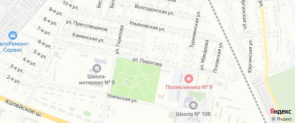 Улица Пирогова на карте Челябинска с номерами домов