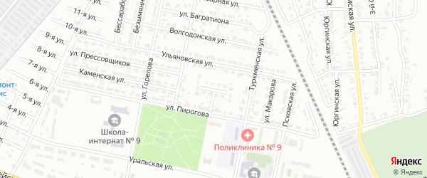 Ульяновский переулок на карте Челябинска с номерами домов