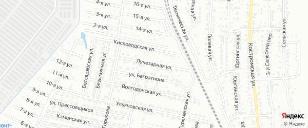 Лучезарная улица на карте Челябинска с номерами домов