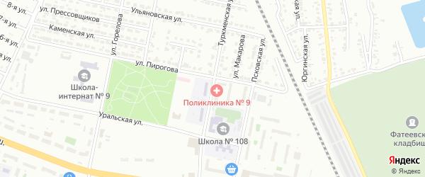 Туркменская улица на карте Челябинска с номерами домов