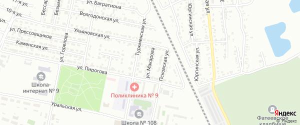 Улица Макарова на карте Челябинска с номерами домов