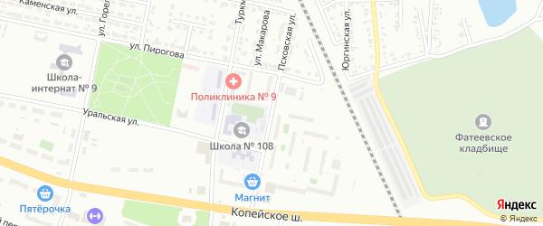 Псковская улица на карте Челябинска с номерами домов