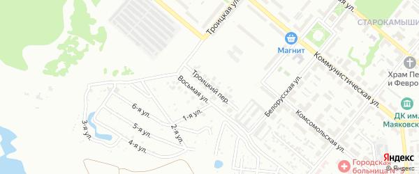 Троицкий переулок на карте Копейска с номерами домов