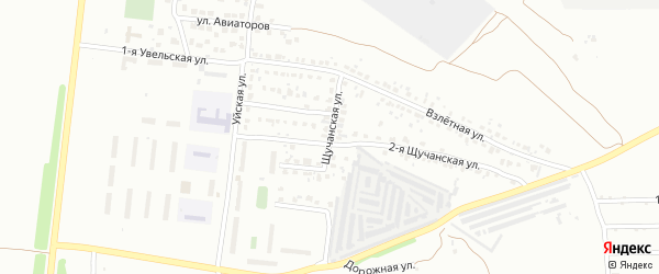 Щучанская 1-я улица на карте Челябинска с номерами домов
