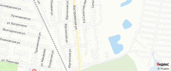 Сельский 2-й переулок на карте Челябинска с номерами домов