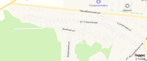 Зеленая улица на карте села Кунашака с номерами домов