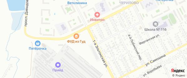 Эльтонская 1-я улица на карте Челябинска с номерами домов