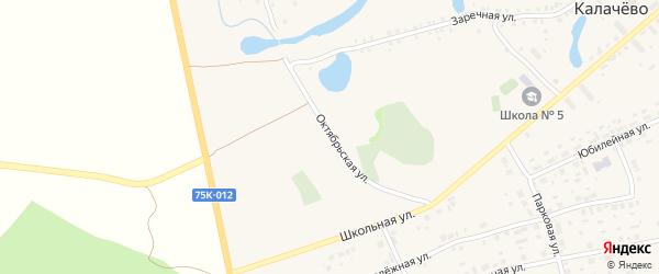 Октябрьская улица на карте села Калачево с номерами домов