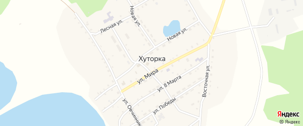 Улица Победы на карте села Хуторки с номерами домов