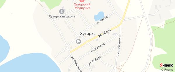 Солнечный переулок на карте села Хуторки с номерами домов