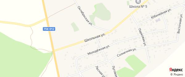 Школьная улица на карте села Калачево с номерами домов