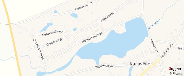 Набережная улица на карте села Калачево с номерами домов