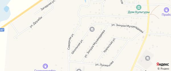 Школьная улица на карте железнодорожной станции Муслюмово с номерами домов