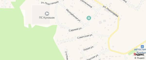Садовая улица на карте села Кунашака с номерами домов