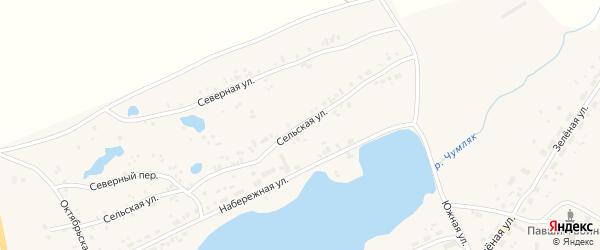 Сельская улица на карте села Калачево с номерами домов