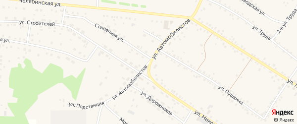Улица Автомобилистов на карте села Кунашака с номерами домов