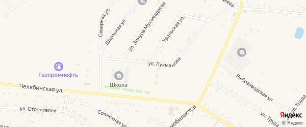 Улица Лукманова на карте села Кунашака с номерами домов