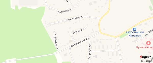 Новая улица на карте села Кунашака с номерами домов