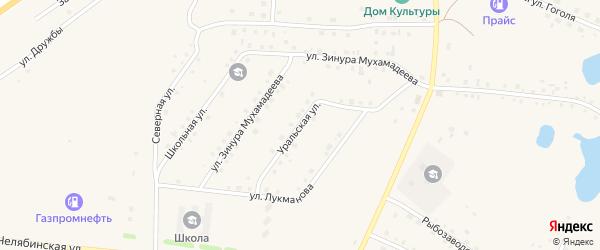 Уральская улица на карте села Кунашака с номерами домов