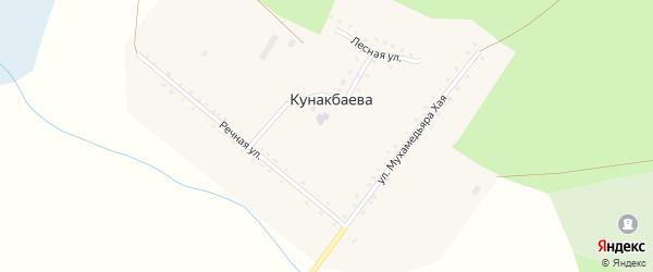 Лесная улица на карте деревни Кунакбаева с номерами домов