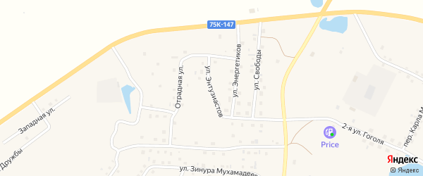 Улица Энтузиастов на карте села Кунашака с номерами домов