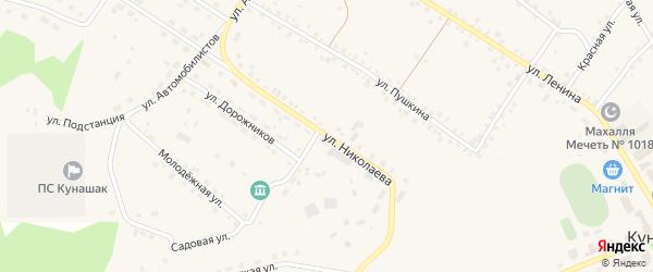 Улица Николаева на карте села Кунашака с номерами домов