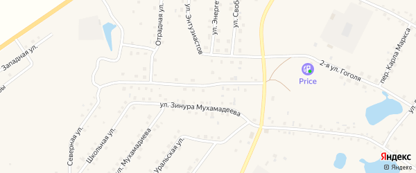 Северная улица на карте села Кунашака с номерами домов