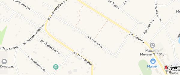 Улица Пушкина на карте железнодорожной станции Муслюмово с номерами домов