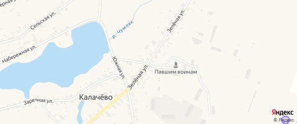 Зеленая улица на карте села Калачево с номерами домов