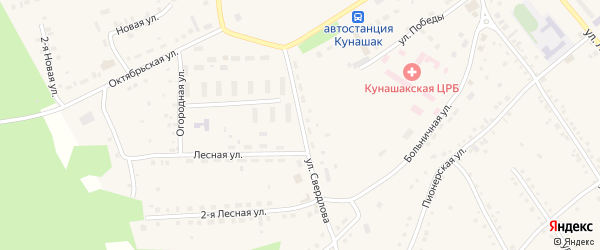 Улица Свердлова на карте села Кунашака с номерами домов