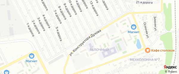 Улица Конструктора Духова на карте Челябинска с номерами домов