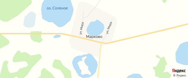 Карта деревни Марково в Челябинской области с улицами и номерами домов