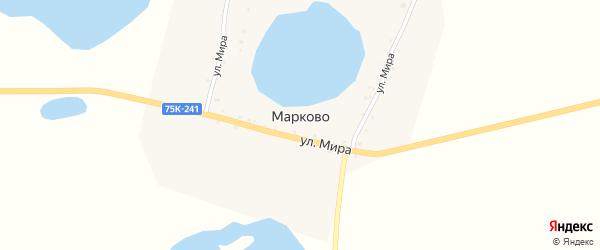 Улица Мира на карте деревни Марково с номерами домов